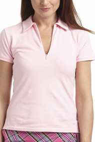 Golftini Light Pink Short Sleeve Zip Polo