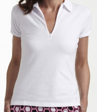 Golftini White Short Sleeve Zip Polo