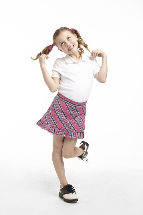Golftini Girl Pink Tartan Plaid Junior Golf Skort