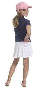 Golftini Girl White Pull On Tech Junior Golf Skort