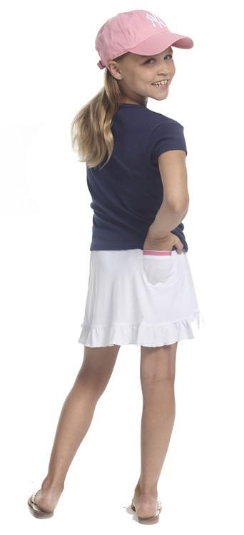 Golftini Girl White Pull On Tech Junior Golf Skort