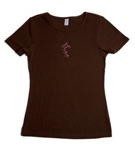 Pink Diva Golf Bling Golfer Girl Brown Ladies Golf Shirt
