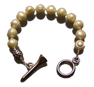 Sporty Chic Pearls Golf Tee Toggle Bracelet