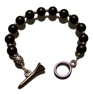 Sporty Chic Black Onyx Golf Tee Toggle Bracelet