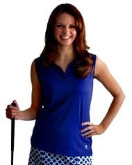 GolfHer Blue Sleeveless Golf Shirt with SPF 35