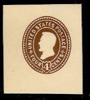 U374 4c Brown on White, die 3, Mint Cut Square