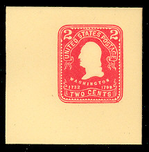 U386 2c Carmine on Amber, Mint Full Corner