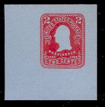 U388 2c Carmine on Blue, Mint Full Corner
