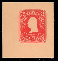 U397 2c Carmine on Oriental Bull, Mint Cut Square
