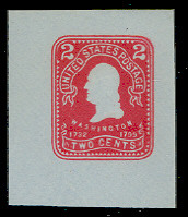 U398 2c Carmine on Blue, Mint Cut Square
