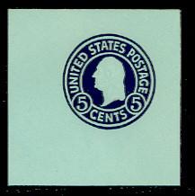 U445 5c Blue on Blue, Mint Full Corner