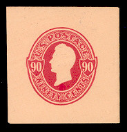 U214 90c Carmine on Oriental Buff, Mint Full Corner, 40 x 42