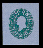U321 2c Green on Blue, die 3, Mint Cut Square, 36 x 42