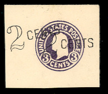 U446 2c on 3c Dark Violet on White, die 1, Mint Full Corner, 44 x 52, Double Surcharge