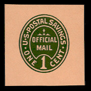 UO71 1c Green on Oriental Buff, Mint Cut Square, 40 x 40