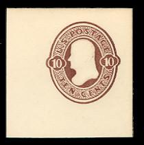 U187 10c Brown on White, die 1, Mint Full Corner, 50 x 50