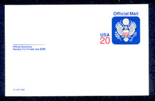 UZ6 UPSS# O6 20c Official Mail, multicolored  Mint Postal Card