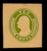 U18 10c Green on Buff, die 2, Mint Cut Square, 38 x 41