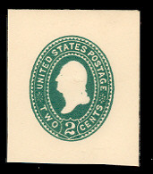 U318 2c Green on White, die 3, Mint Cut Square, 43 x 45