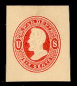 UO38 6c Vermillion on Cream, Mint Cut Square, 34 x 39