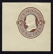 U187 10c Brown on White, die 1, Mint Cut Square, 47 x 47