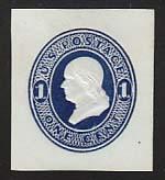 U108 1c Dark Blue on White, die 1, Mint Cut Square, 33 x 37