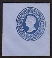 U175 5c Blue on Blue, die 1, Mint Cut Square, 40 x 44