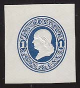 U108a 1c Light Blue on White, die 1, Mint Cut Square, 36 x 40