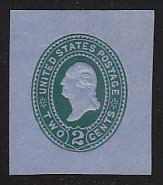 U321 2c Green on Blue, die 3, Mint Cut Square, 36 x 42 u0321.7a