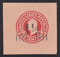U503 1 1/2c on 2c Carmine on Oriental Buff, die 5, Mint Cut Square, 44 x 44
