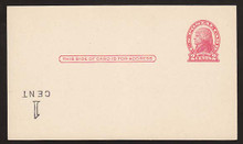 UX33f UPSS# S45-16f, Indianapolis Surcharge Inverted LL, Mint Postal Card