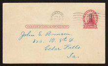 UX33b UPSS# S45-43b, Springfield Double Surcharge, USED Postal Card
