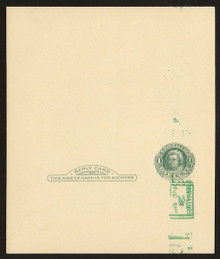 UY14e UPSS# MR23-1c Revalued 2c on 1c UY7, vertical below stamp, Tickometer, Mint UNFOLDED