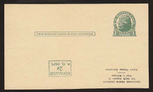 UX41a UPSS# S57f Revalued 2c on 1c UX27 Thomas Jefferson, Inverted Surcharge, Press Printed, Unused Postal Card