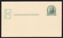 UX39 UPSS# S56-3f Revalued 2c on 1c UX27, vertical below stamp, INVERTED, Tickometer Mint Postal Card