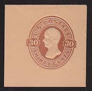 U338 30c Red Brown on Oriental Buff, Mint Cut Square, 43 x 43
