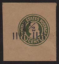 U500 1 1/2c on 1c Green on Brown, die 1, Mint Full Corner, 44 x 48