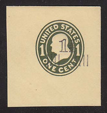 U511 1 1/2c on 1c Green on Amber, die 1, Mint Full Corner, 48 x 48