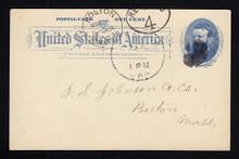 """UX11var UPSS# S12e 1c Grant, Blue on White Used Postal Card """"Picture Hanger"""" variety"""