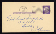 """UX46a UPSS# S63a 3c Statue of Liberty, Missing """"I"""" Used Postal Card"""