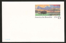 UX120b UPSS# S137aa 15c Bison Mint Postal Card, DOUBLE Impression one on back