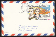 UXC19 UPSS# SA18 28c First Transpacific Flight Postal Card, Used to Israel