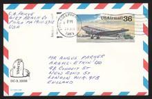 UXC24 UPSS# SA23 36c DC-3 Postal Card, Used to England