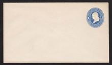 U113 UPSS # 265-7 1c Light Blue on White, die 2, Mint Entire