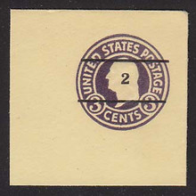 U476 2c on 3c Dark Violet on Amber, die 1, Mint Full Corner, 50 x 50