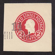 U520c 1 1/2c on 2c Carmine, die 7, Mint Cut Square, 41 x 41