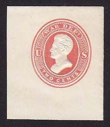 UO47 2c Red on White, Mint Full Corner, 40 x 46