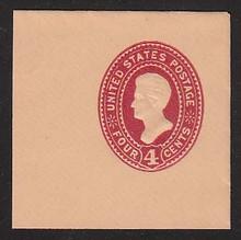 U326 4c Carmine on Oriental Buff, Mint Cut Square, 47 x 47