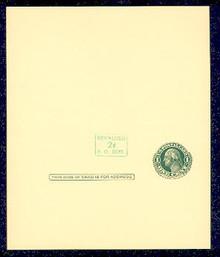 UY14b UPSS# MR23-3 Revalued 2c on 1c UY7, horizontal at left of stamp, Tickometer, Mint UNFOLDED