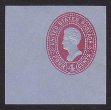 U327 4c Carmine on Blue, Mint Cut Square, 47 x 47